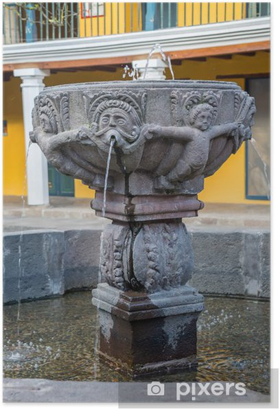 Plakat Starych kolonialnych fontanna w środku patio - Ameryka