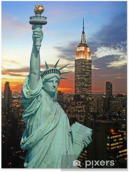 Plakat Statua Wolności i New York City Skyline - Tematy
