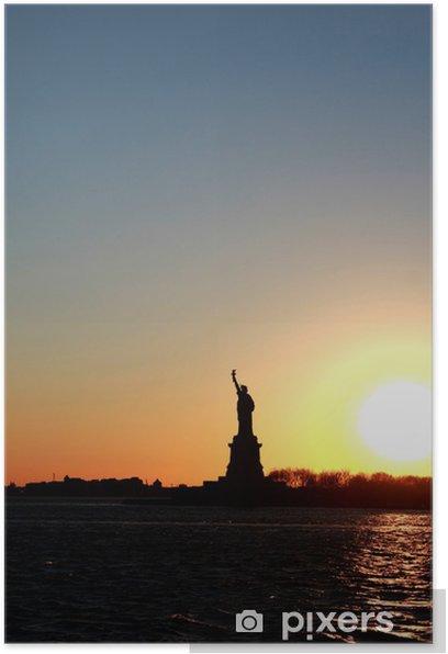 Plakat Statua Wolności o zachodzie słońca - Miasta amerykańskie