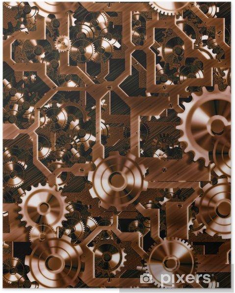 Plakat Steampunk zębów i kół zębatych - Steampunk