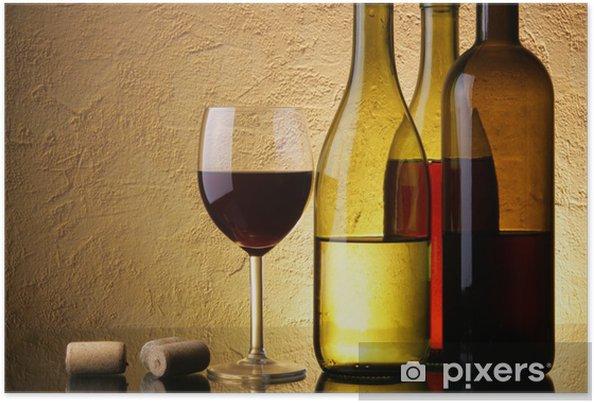 Plakat Still-life trzy butelki wina i szkła - iStaging