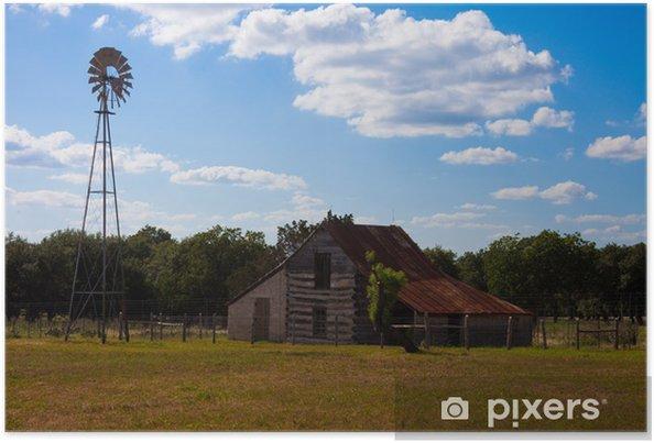 Plakat Stodoła i Windmill - Krajobraz wiejski
