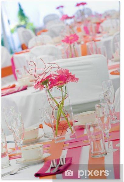 Plakat Stoły weselne w różowy i pomarańczowy - Świętowanie