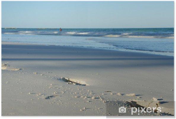 Plakát Stopy jdou přes písčité pláže - Voda
