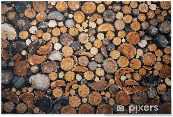 Plakat Stos posiekaną drewna tle pożaru - Tekstury