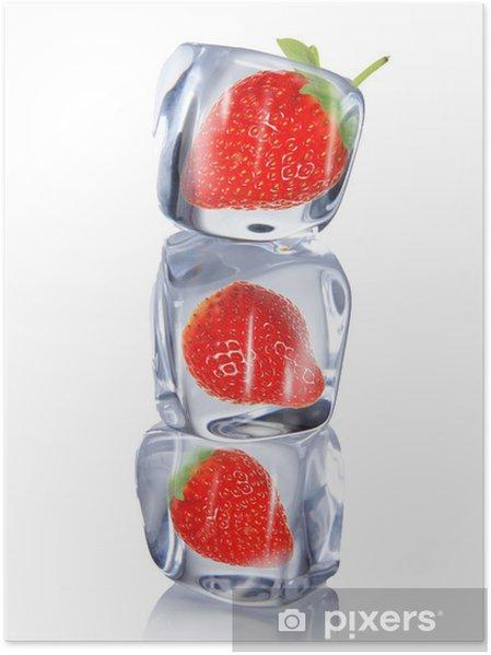 Plakat Strawberry kostki lodu - Truskawki