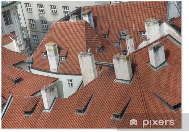 Plakát Střešní vrcholy starobylé město - Evropská města