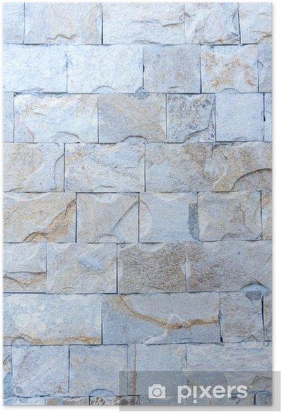 Plakat Streszczenie część starego ogrodzenia z kamienia - Tekstury