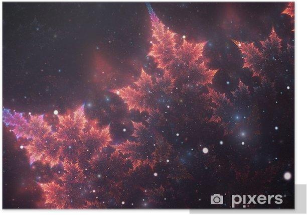 Plakat Streszczenie Fractal, dekoracyjne musujące fioletowo-pomarańczowy oddział z miękkiego rozmycia na ciemnym tle kosmicznej - Zasoby graficzne