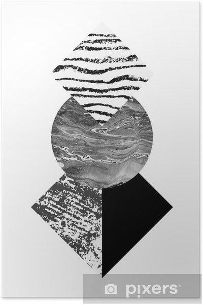 Plakat Streszczenie geometrii kształtów z akwarelą i grunge tekstury - Zasoby graficzne