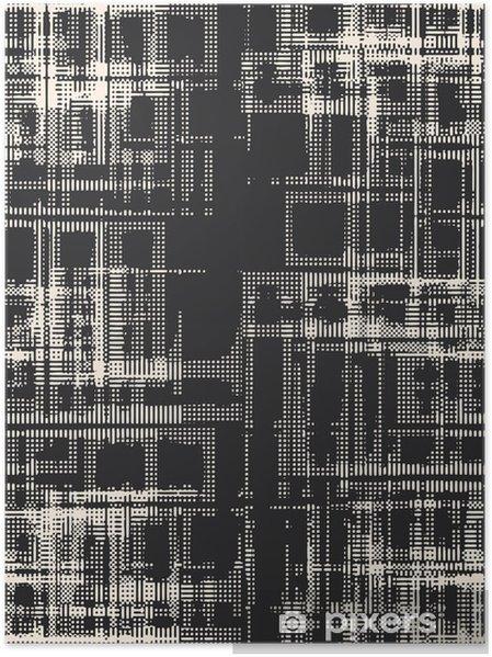 Plakat Streszczenie grunge wektora tle. Kompozycja Monochromatyczny raster nieregularnych elementów graficznych. Utworzone przy użyciu ręcznie odbitek fotograficznych aparatów mniej. - Zasoby graficzne