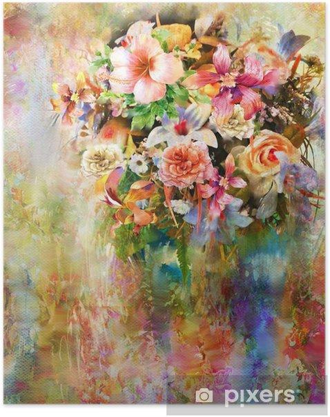 Plakat Streszczenie kolorowe kwiaty akwarela. Wiosna wielobarwny - Hobby i rozrywka