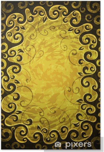 Plakat Streszczenie kwiatów grunge wektora żółta ramka. - Cuda natury