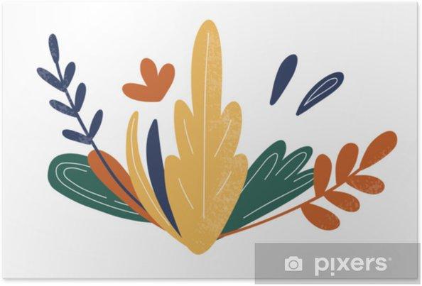 Plakat Streszczenie Kwiaty Rośliny I Liście Wektor Ręcznie Rysunek Wydruku