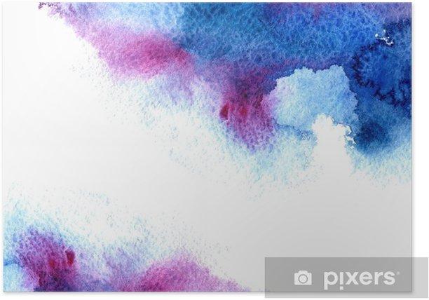 Plakat Streszczenie niebieski i fioletowy wodniste frame.Aquatic backdrop.Hand rysowane Akwarele stain.Cerulean powitalny. - Zasoby graficzne