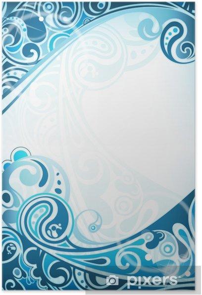 Plakat Streszczenie niebieskim tle krzywej - Tła