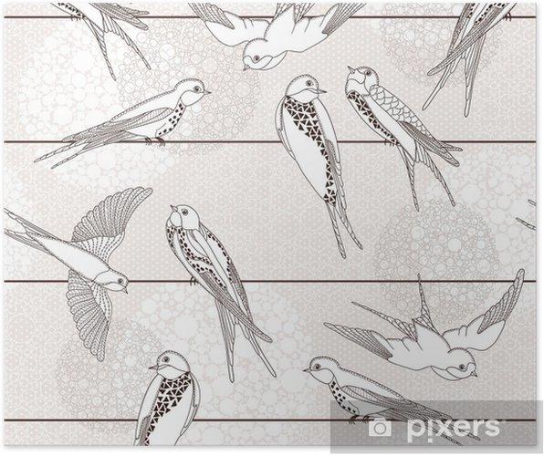 Plakat Streszczenie powtarzalne. Ptak na drutach. - Style