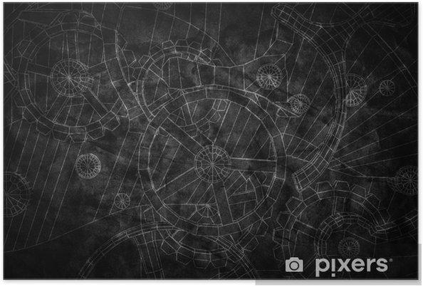 Plakat Streszczenie przemysłowe, technologia tło. kontury biegów - Przemysł