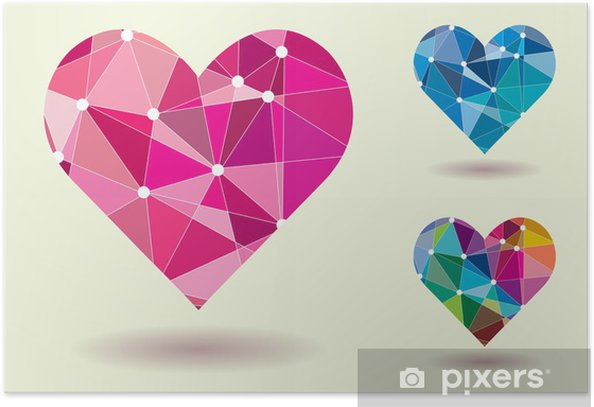 Plakat Streszczenie Serca Kształt kolorowych ilustracji wektorowych - Szczęście