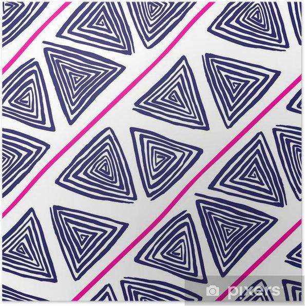 a62aa27ede0697 Plakat Streszczenie szwu z trójkąta fioletowych rysowane ręcznie spirale