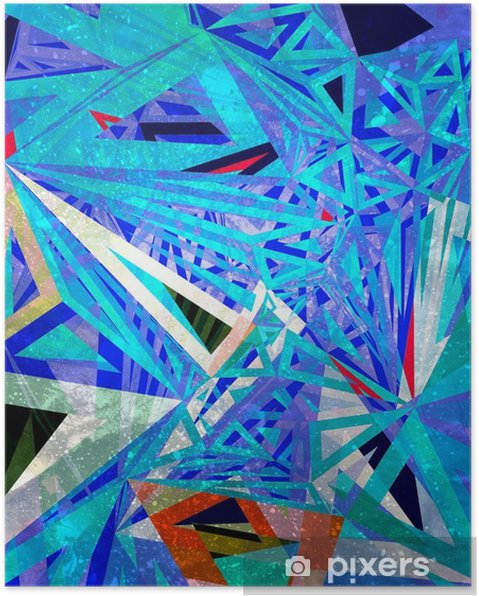 Plakat Streszczenie tło geometryczne akwarela - Zasoby graficzne