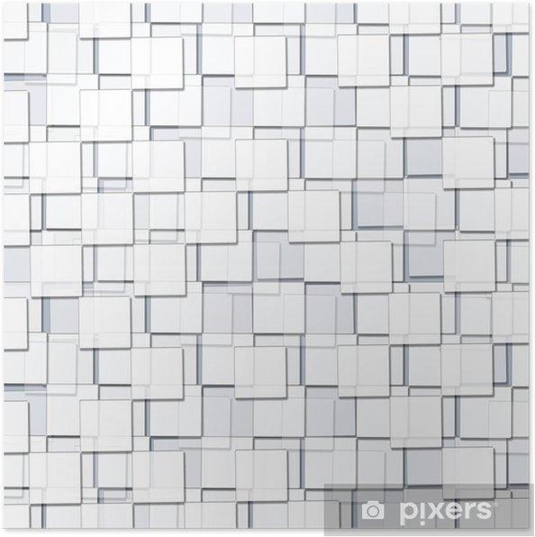 Plakat Streszczenie tło z sześciennych białych bloków - Zasoby graficzne