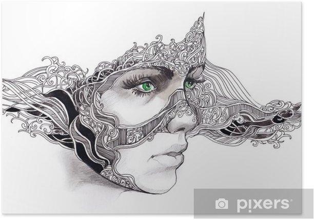 Plakat Streszczenie twarz kobiety - Bogactwo