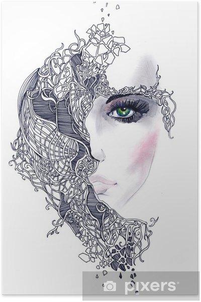 Plakat Streszczenie twarz kobiety - Style