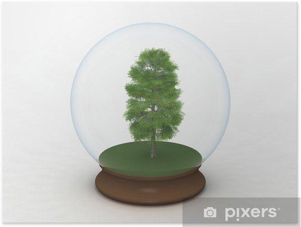 Plakát Strom v sněhu zeměkoule - Ekologie