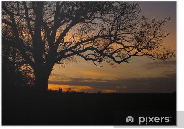 Plakát Stromy v krajině scény při západu slunce - Venkov