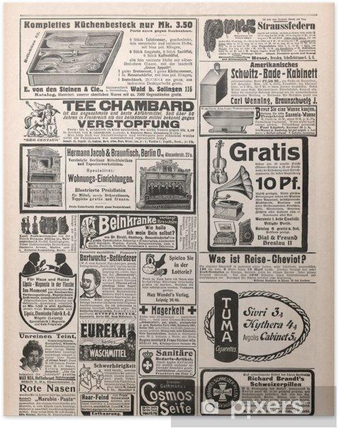 Plakat Strona gazety z zabytkowymi reklamie 1909 - Style