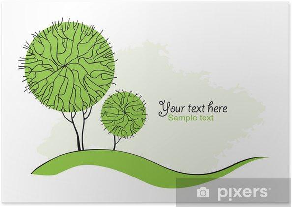 Plakát Stylizované zelené stromy pro design. Vektorové ilustrace - Roční období