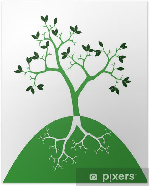 Plakát Stylizovaný strom s kořeny - Přírodní krásy