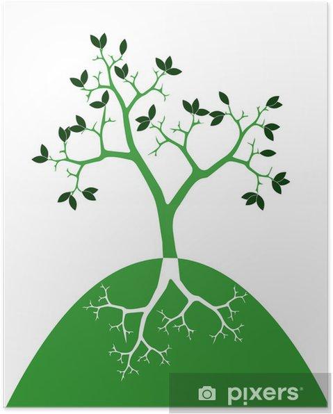 Plakat Stylizowane drzewo z korzeniami - Cuda natury