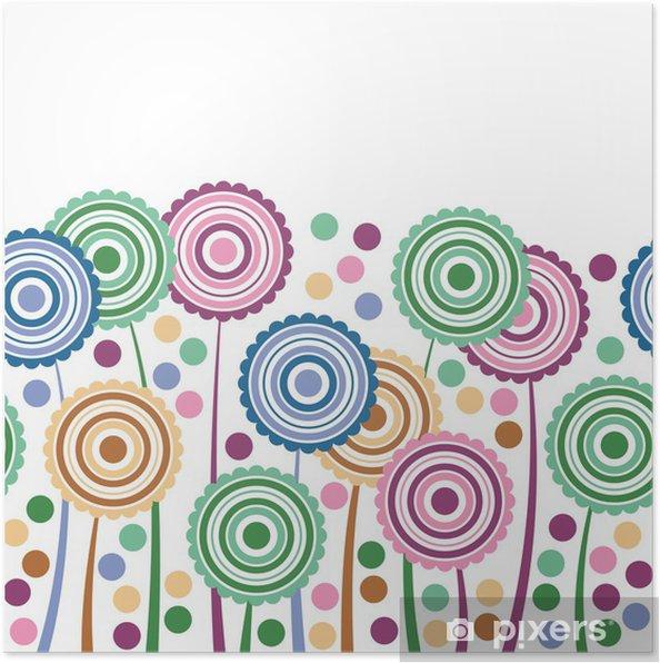 Plakat Stylizowane kwiaty - Tekstury
