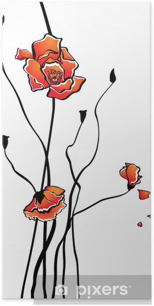 Plakat Stylizowane mak - Kwiaty