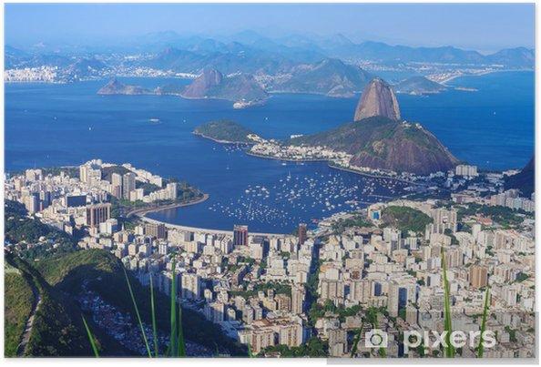 Plakat Sugar Loaf góra i Botafogo w Rio de Janeiro - Brazylia