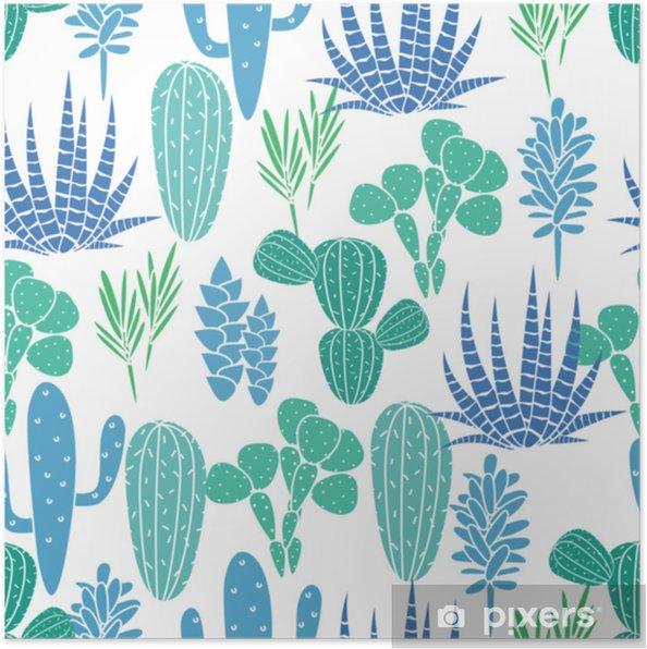 Plakat Sukulenty Kaktusy Roślina Wektor Wzór Botaniczny Błękitny I Zielony Pustynia Flora Tkanina Druk Kreskówka Ogród Kaktusy Do Tapet