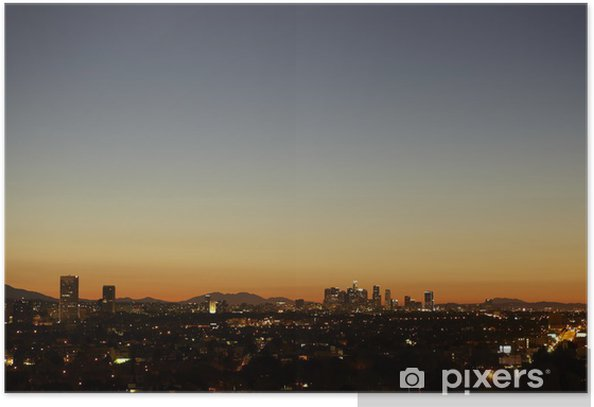 Plakát Sunrise s tepelným opar Downtown Los Angeles panorama - Témata