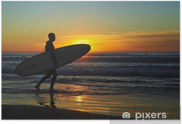 Plakat Surfer Na Zachód Słońca - Woda