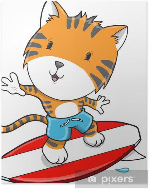 Plakat Surfing Tiger sztuki ilustracji wektorowych - Ssaki