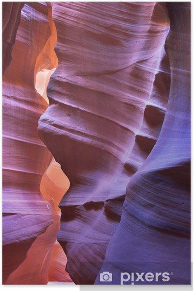 """Plakát Svítilo oranžové a fialové barvy kaňonu od """"Antelope"""" - Amerika"""