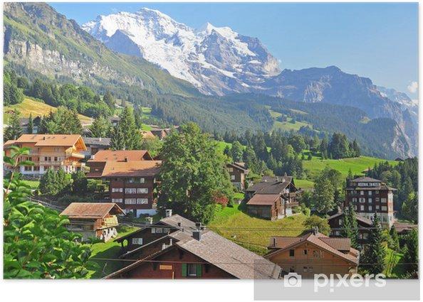 Plakát Švýcarská vesnice v Alpách - Evropa