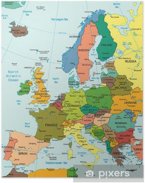 Plakat Świat Ziemia Kontynent Europa map Kraj - Tematy
