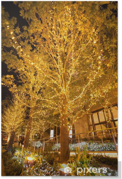 Plakat Świąteczne iluminacje - Pejzaż miejski
