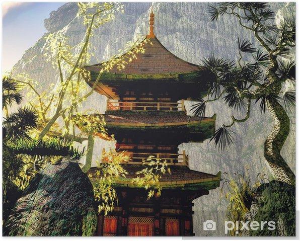 Plakat Świątynia buddyjska w górach - Budynki użyteczności publicznej