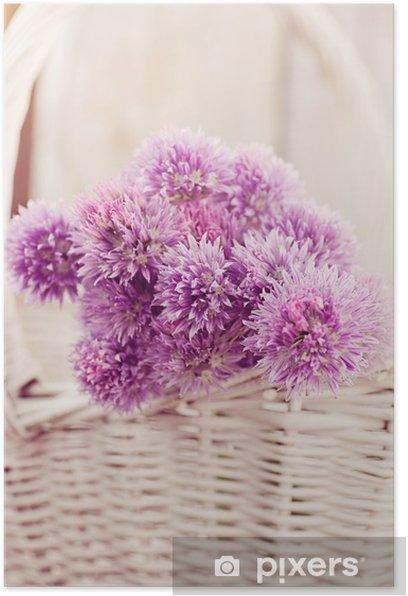 Plakat Świeże kwiaty szczypiorku - Pory roku