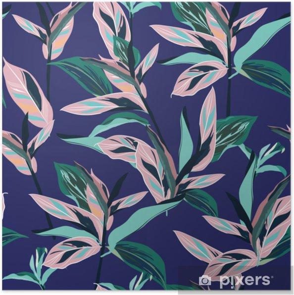 Plakat Świeże letnie kolorowe tropikalne liście bez szwu projekt graficzny z niesamowite dłonie. moda, wnętrze, opakowanie, odpowiednie opakowanie. - Zasoby graficzne