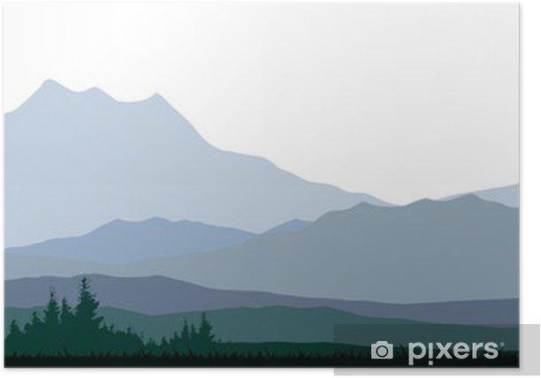 Plakat Sylwetka lasach iglastych podczas projektowania - Cuda natury