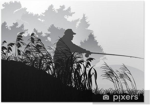 Plakat Sylwetka rybak blisko szarych lasów jezioro - Sporty na świeżym powietrzu